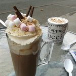 'Seville Special' hot chocolate and a cappuccino