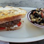 burger with corn and black bean salad
