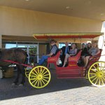 Hotel offers water and shade to this horse drawn carriage - front door pick-ups!