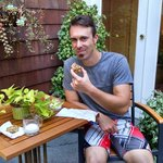 Enjoying the fresh baked chocolate chip cookies in the garden patio!