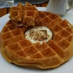 Made-to-order waffle with over-easy egg in the middle!  They even serve it to you at your table!