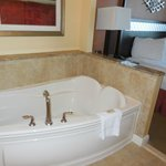 The whirlpool tub in the master bedroom