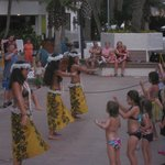 Grass skirt dancers