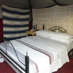 Bed inside tent