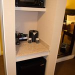 Fridge, single-cup coffee maker and microwave