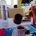 Special Greek coffee, right on the waterfront.