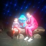 my daughter meeting one of the mascots and danny from the entertainment team