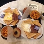 Two Ranch Breakfasts, two coffees, and two homemade donuts $28 and change (Oct 2014)