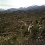 Hiking up the mountain with my horse Mora