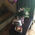 The staff organized flowers, strawberry and champagne for my wife's 40th birthday
