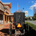 Buggy in the front of the Wayside Inn