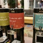 Free Coffee in the lobby, lots of flavors to choose from