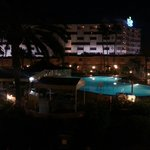 View from our room of the pool at night.