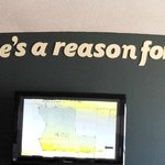 """Teal walls and """"quote"""" lettering applied to walls."""