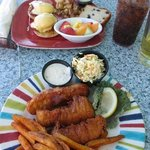 fish and chips; eggs benedict