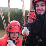 Hanging out in the last tower before our last zip line