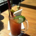This is their world famous Bloody Mary. Pretty impressive. Yes that is an extra large slim jim o