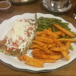 Pinko chicken breast with melted cheese(sweet potato fries are extra)
