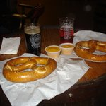 Beer Soda and pretzels,