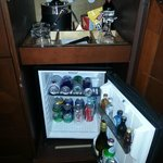 Bar Fridge and snack tray. There was a price list but forgot to take a picture of it.