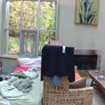 Panorama of main room of Greenhouse; the cot is for a child and worked well for him, although ch