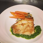 Wow! Caramelized haddock with aruglua and walnut pesto!!!!