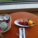 Complimentary fruits and tea