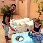 Simo serves mint tea on the Riad Limouna roof terrace