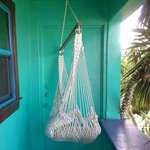 Hanging chair outside the front door