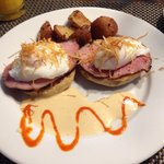 Eggs Benedict with potatoes....another top shelf breakfast at the Haydon Street Inn!