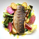 Seabass with Broad Bean, Radish and Fennel Emulsion