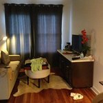 nicely-furnished living-area of suite