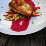 Pan seared Striped Bass with a garden beet puree and mixed garden vegetables