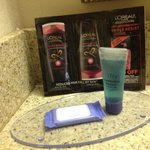 Bath supplies included shampoo and a hair condition sample pack witha coupon