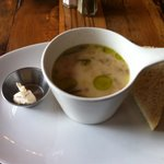 Daily soup, potato, leek, bacon, cream with house made toasted sour dough and infused butter