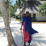 One of the Maasai warriors on the hotel grounds