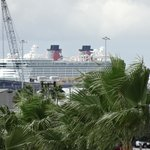 View of the Disney ship from patio