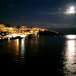 Moonlight view of Funchal from hotel.