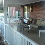 Covered porch seating area