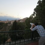 Their terrace with a telescope to view Mount Etna
