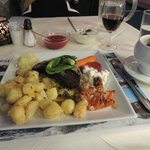 reindeer and musk ox filets with perfect vegetables
