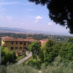 View of Pencione from top of drive with Florence in background
