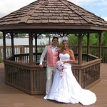 our wedding day at the enclave gazebo in front of the hotel lake