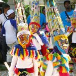 Colourful Gombey Dancers