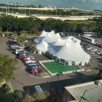 View from 7th floor room. The tent is erected in the parking lot.