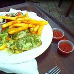 Snapper, salad and chips