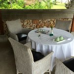 Our veranda, all set up for a room service lunch!