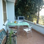 Breakfast remains on the pation balcony