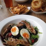 Smoked Mackrel Nicoise, Chicken & babon sandwich with delish homemade onion rings & chips :))