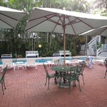 Breakfast provided in gazebo next to the pool